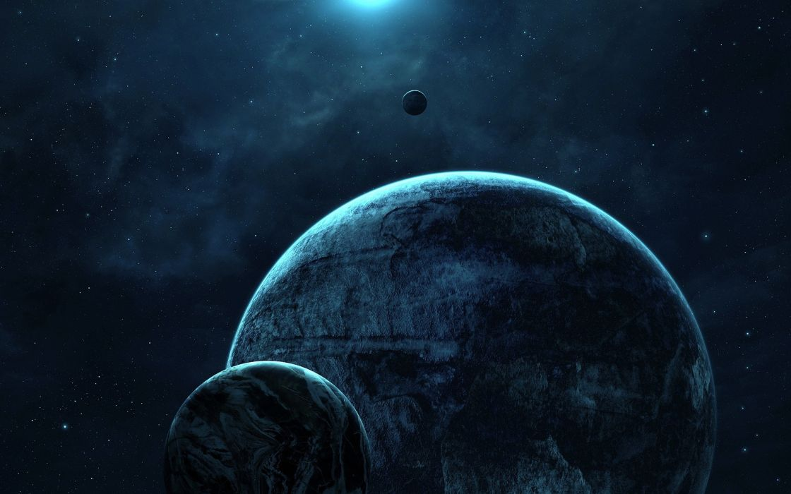 Blue outer space planets calm wallpaper