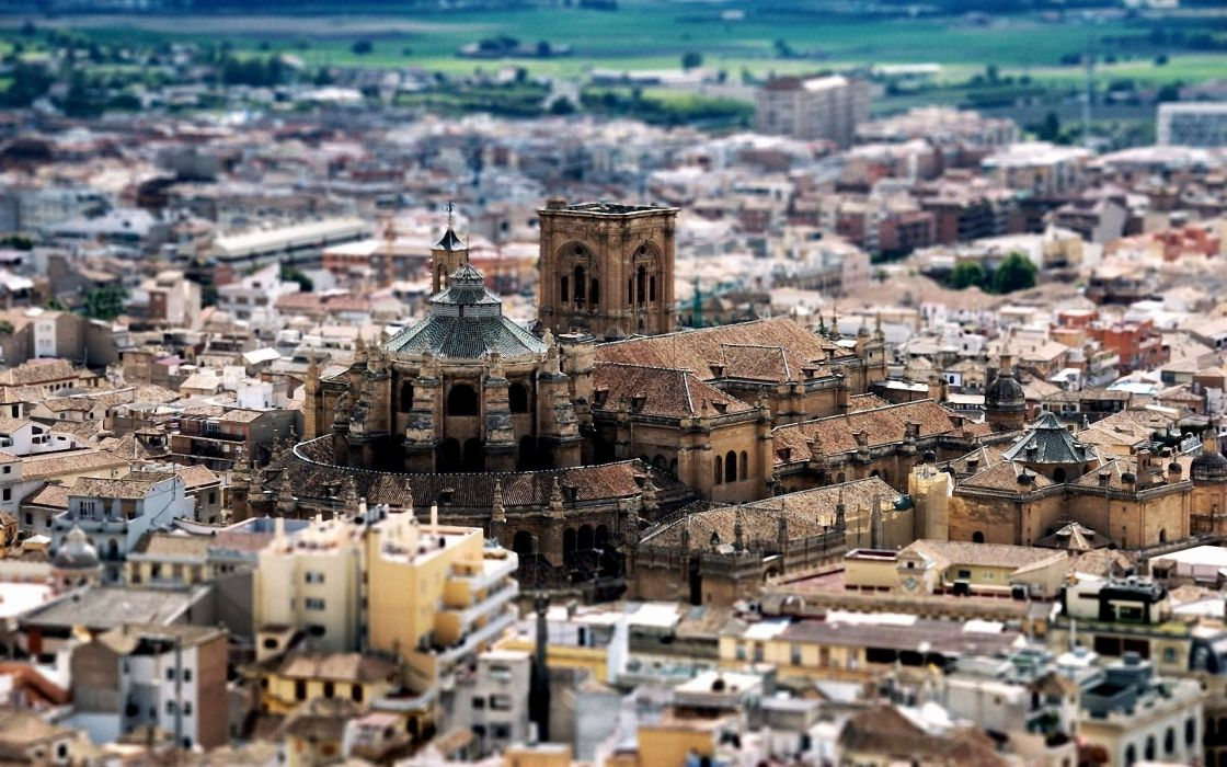 Cityscapes spain cathedral cities granada wallpaper