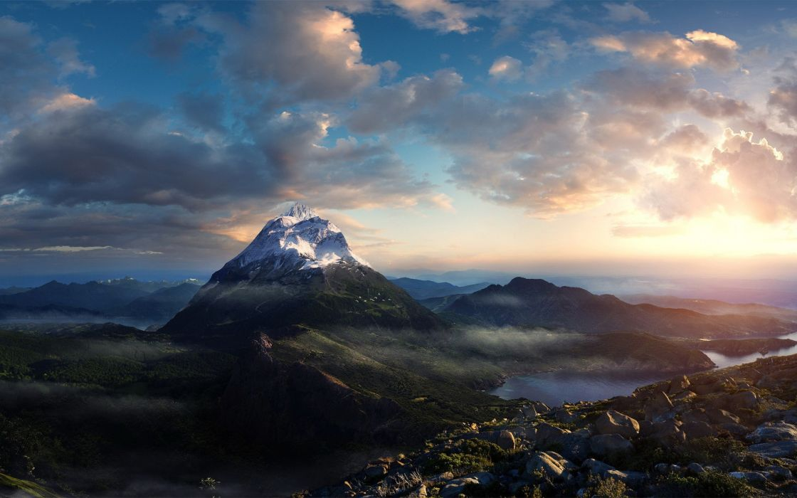 Mountains clouds landscapes nature wallpaper