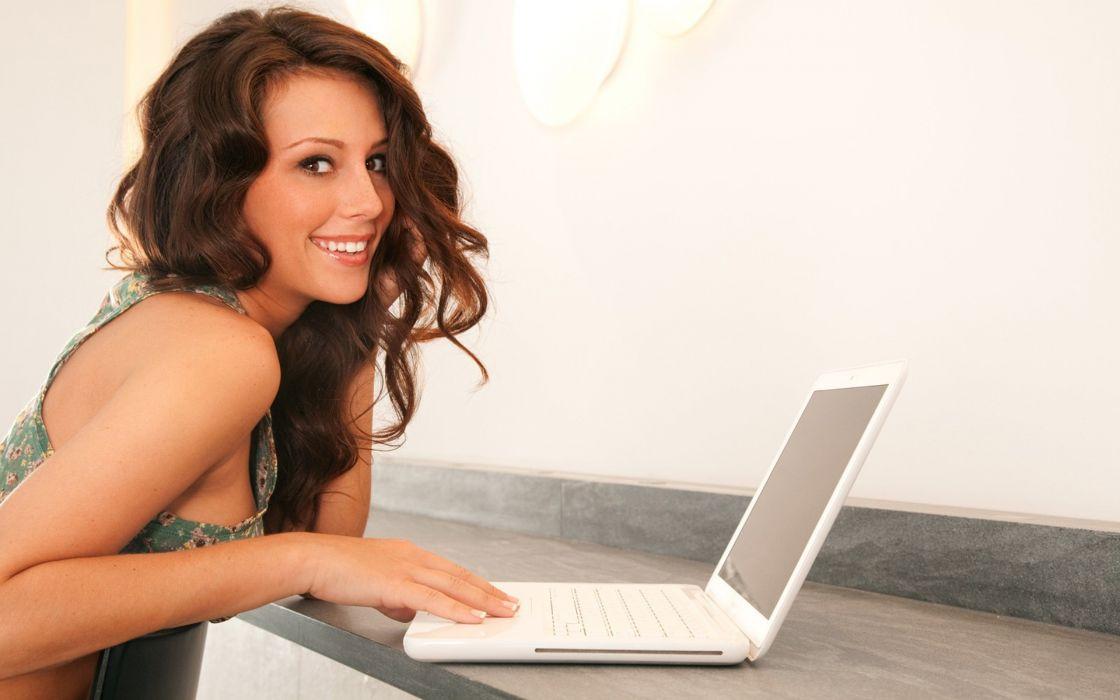 Brunettes women computers laptops kayla love wallpaper