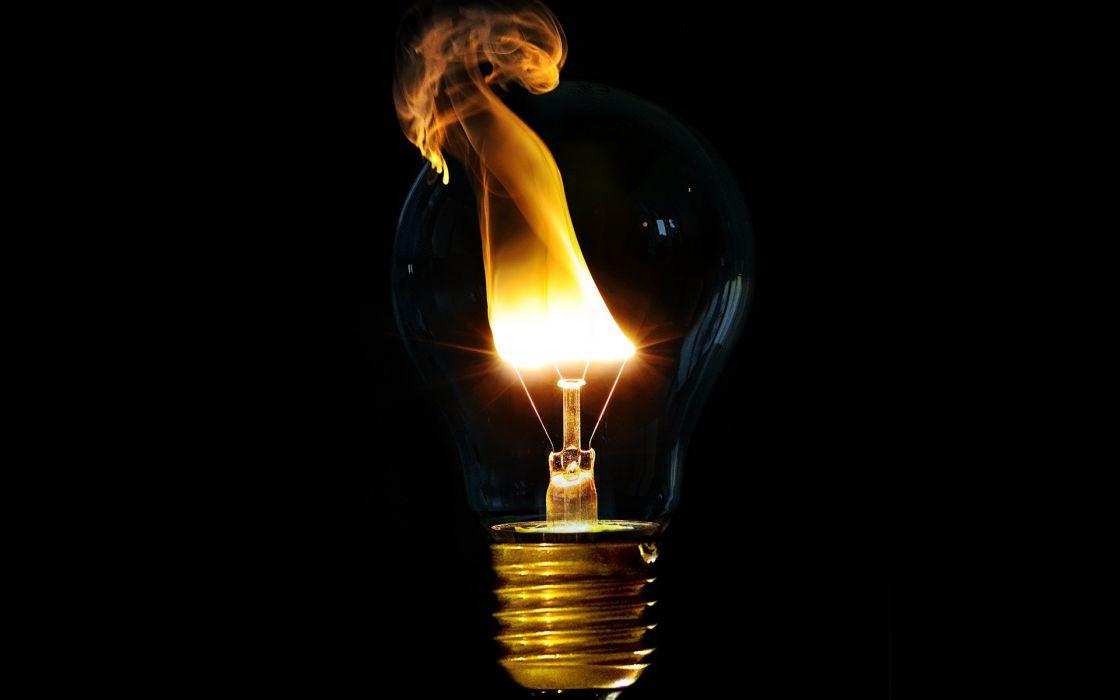 Light fire light bulbs black background wallpaper