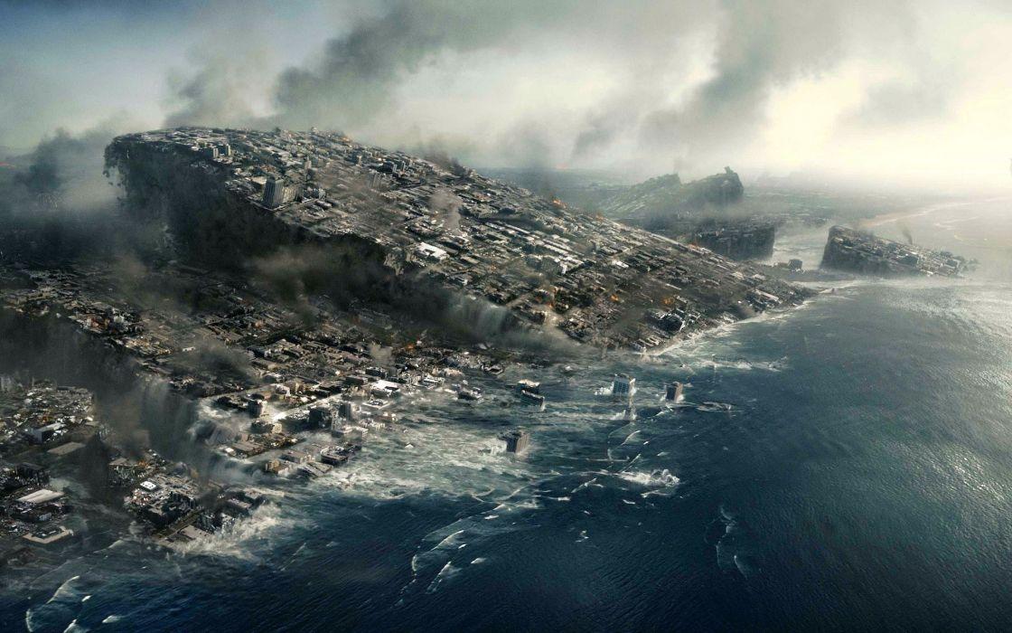 Water ocean sea destruction science fiction post apocalyptic wallpaper
