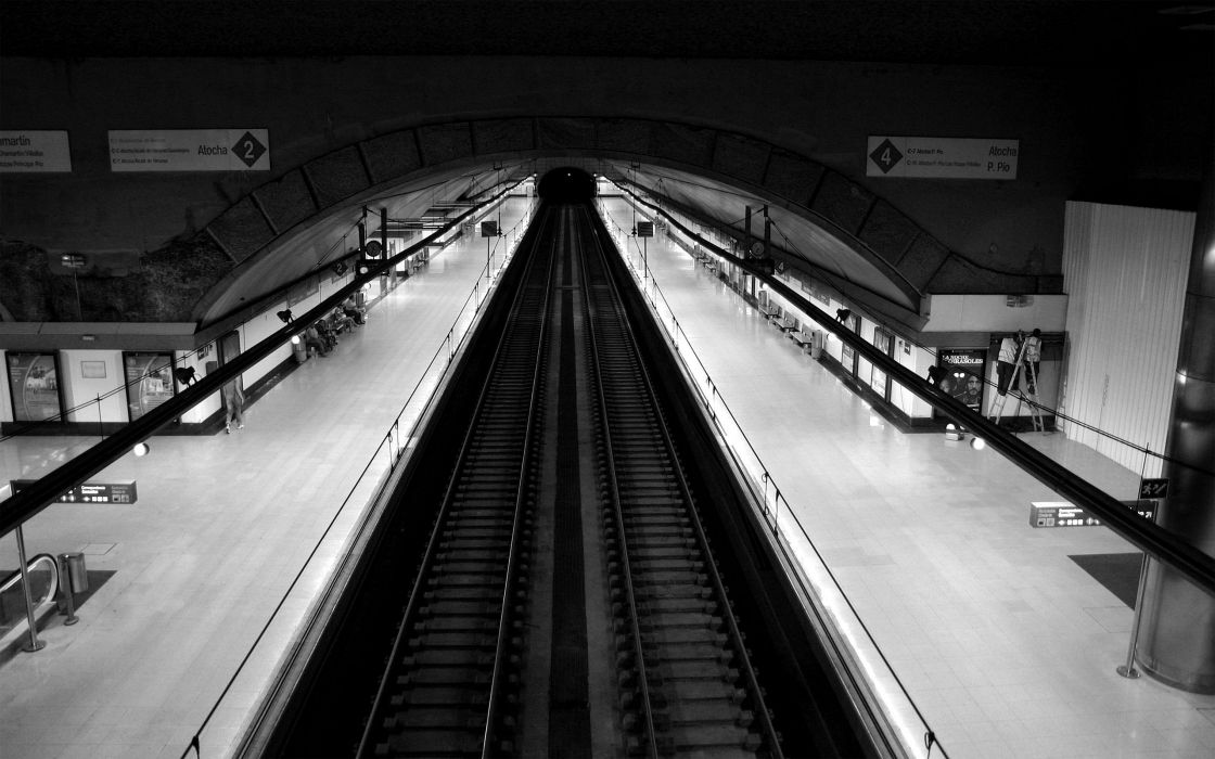 Subway train stations grayscale monochrome wallpaper