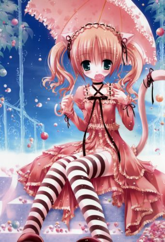 Cat ears lolicon striped lingerie tinkerbell anime umbrellas candies lolita fashion cat tail tinkle illustrations anime girls wallpaper