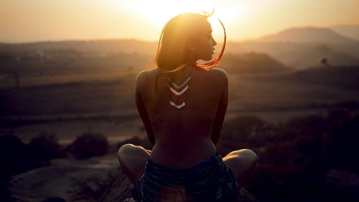Girls-Sunset wallpaper