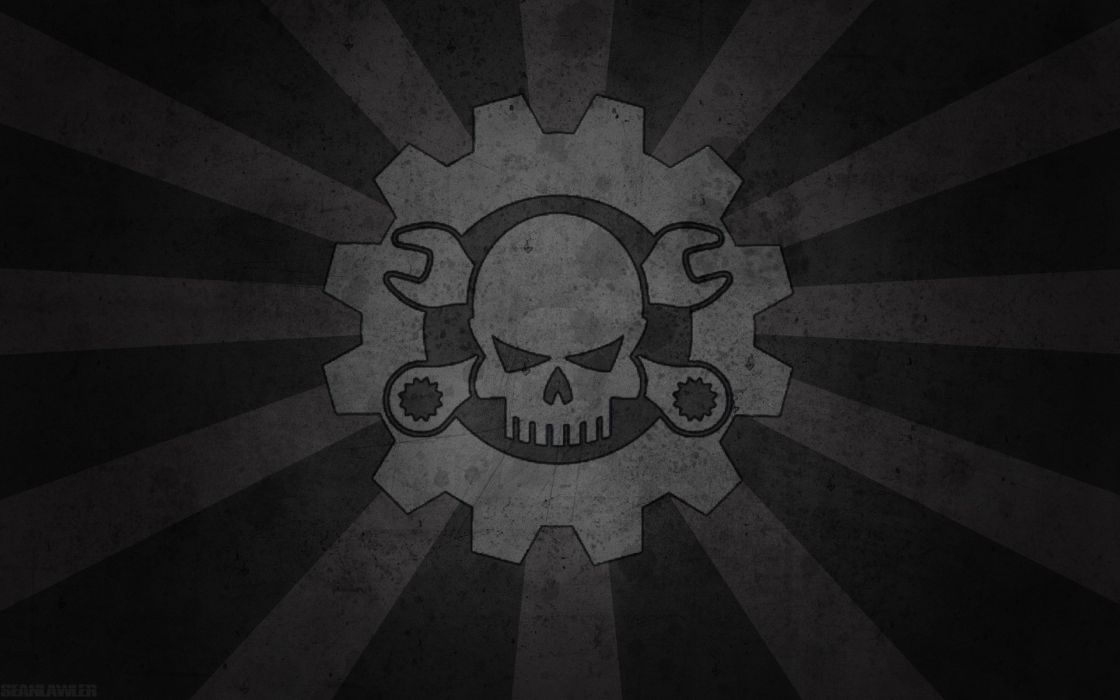 Skulls black death dark gray mechanical plain wallpaper