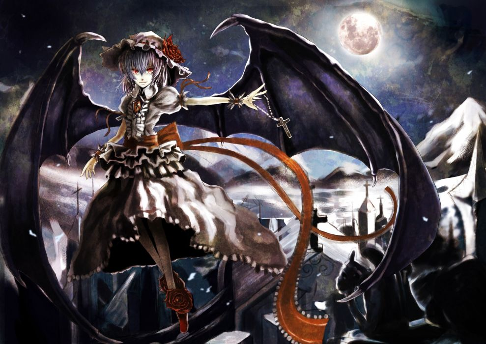 Landscapes touhou wings dress night moon purple hair short hair hats remilia scarlet anime girls vampire wallpaper