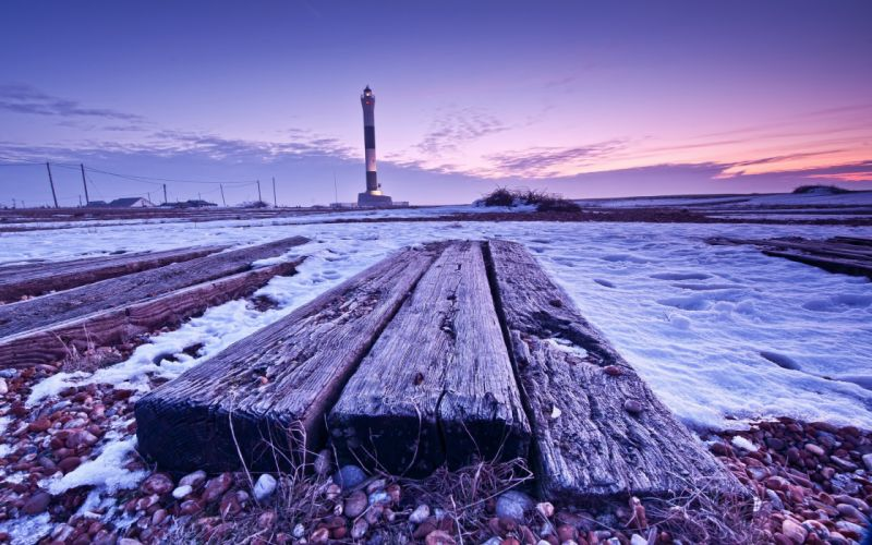 Landscapes snow night lighthouses wallpaper