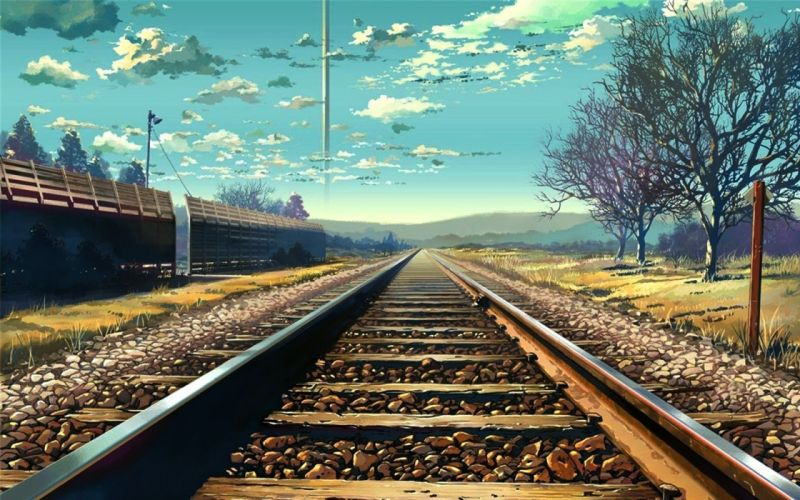 Fantasy art railroad tracks wallpaper