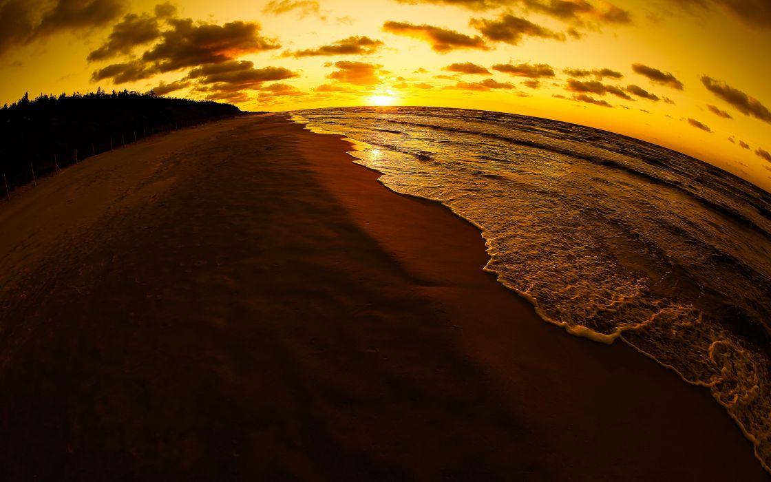 Sunset ocean beach wallpaper