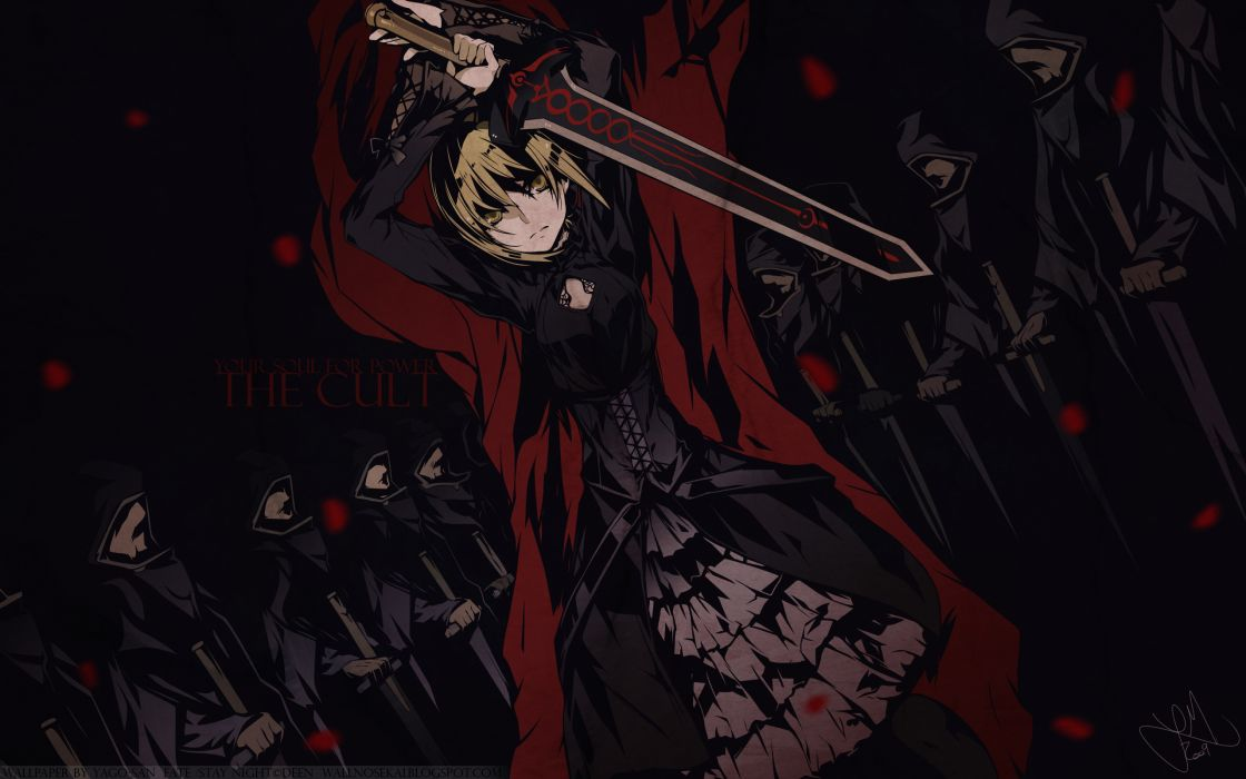 Fatestay night dark dress weapons black dress saber swords saber alter fate series wallpaper