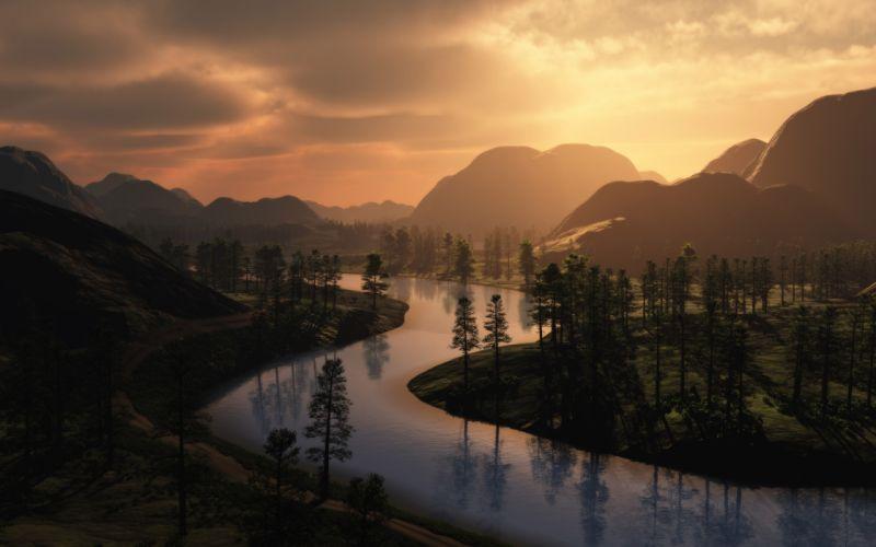 Landscapes digital art rivers wallpaper