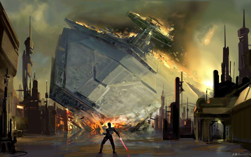Star wars lightsabers crash spaceships artwork vehicles starkiller the force unleashed wallpaper