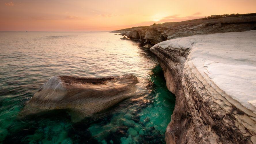 Water ocean landscapes nature beach seas cyprus wallpaper