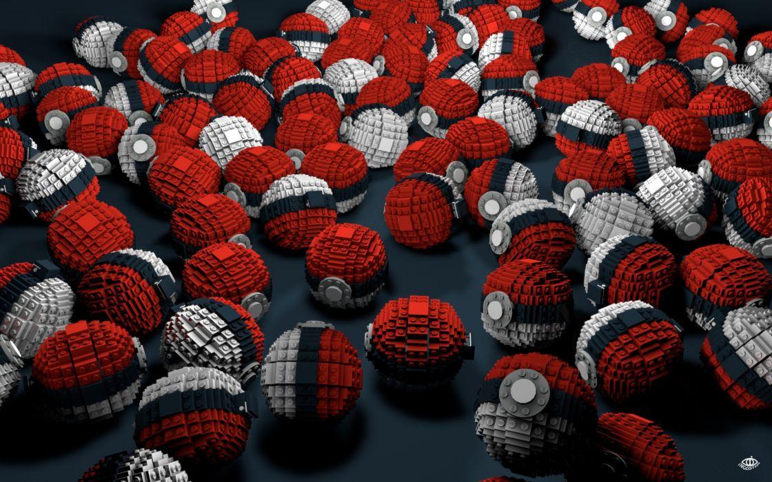 Abstract pokemon lego video games poke balls voxels wallpaper