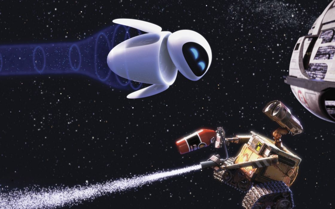 Wall-E and Eve in the space wallpaper