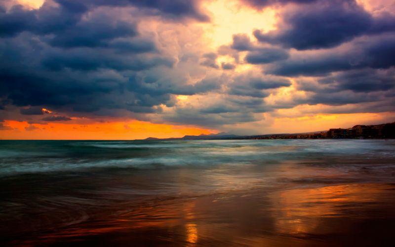 Sunset landscapes nature coast beach waves shore wallpaper