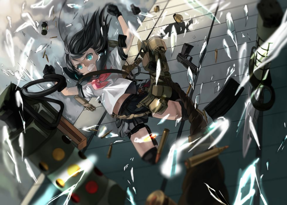 Guns gloves blue eyes school uniforms skirts long hair weapons ammunition grenades anime girls falling black hair wallpaper