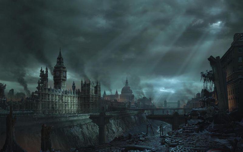 Blue clouds cityscapes london destruction buildings big ben wallpaper