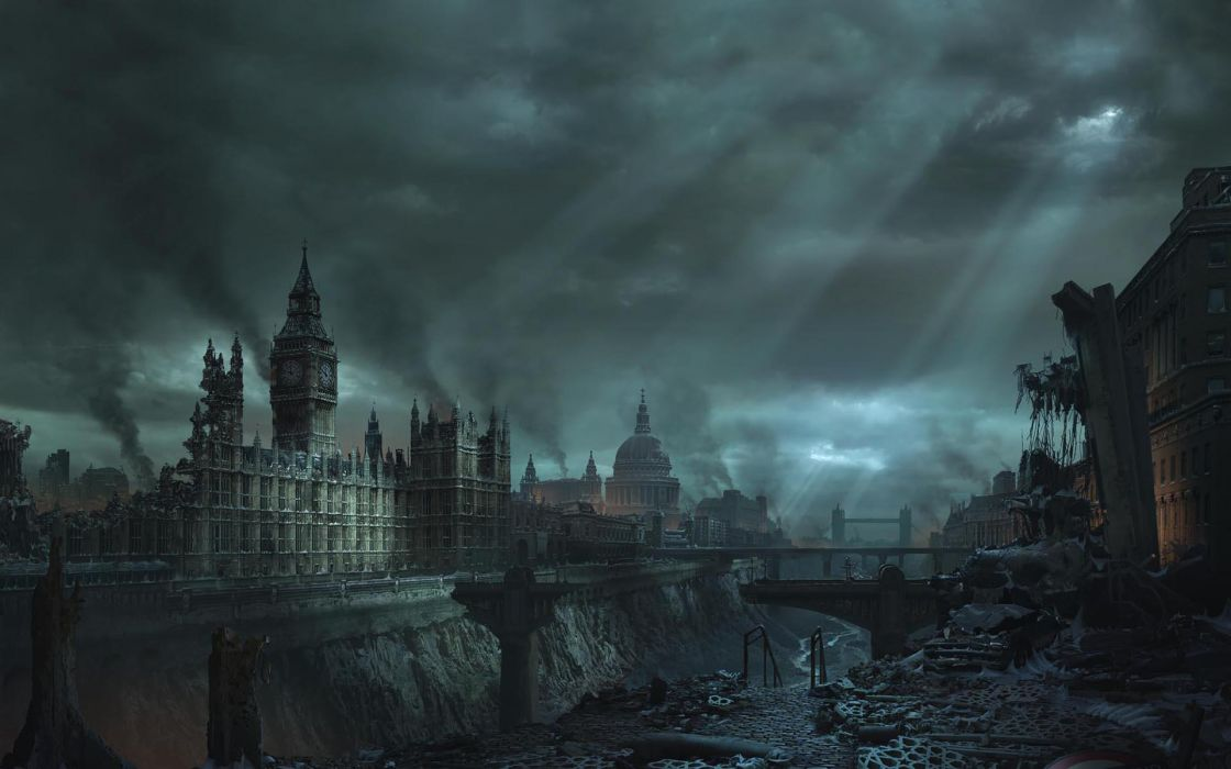 Blue clouds cityscapes london destruction buildings big ben wallpaper