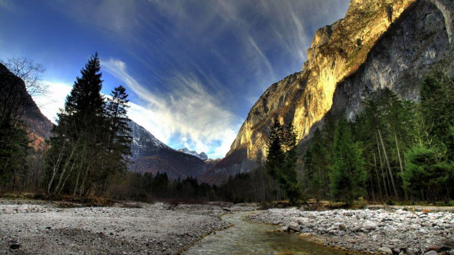 Mountains landscapes nature streams landmark wallpaper