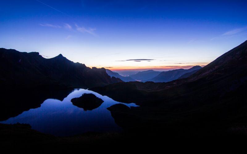 Mountains landscapes nature horizon night germany bavaria lakes reflections skies wallpaper