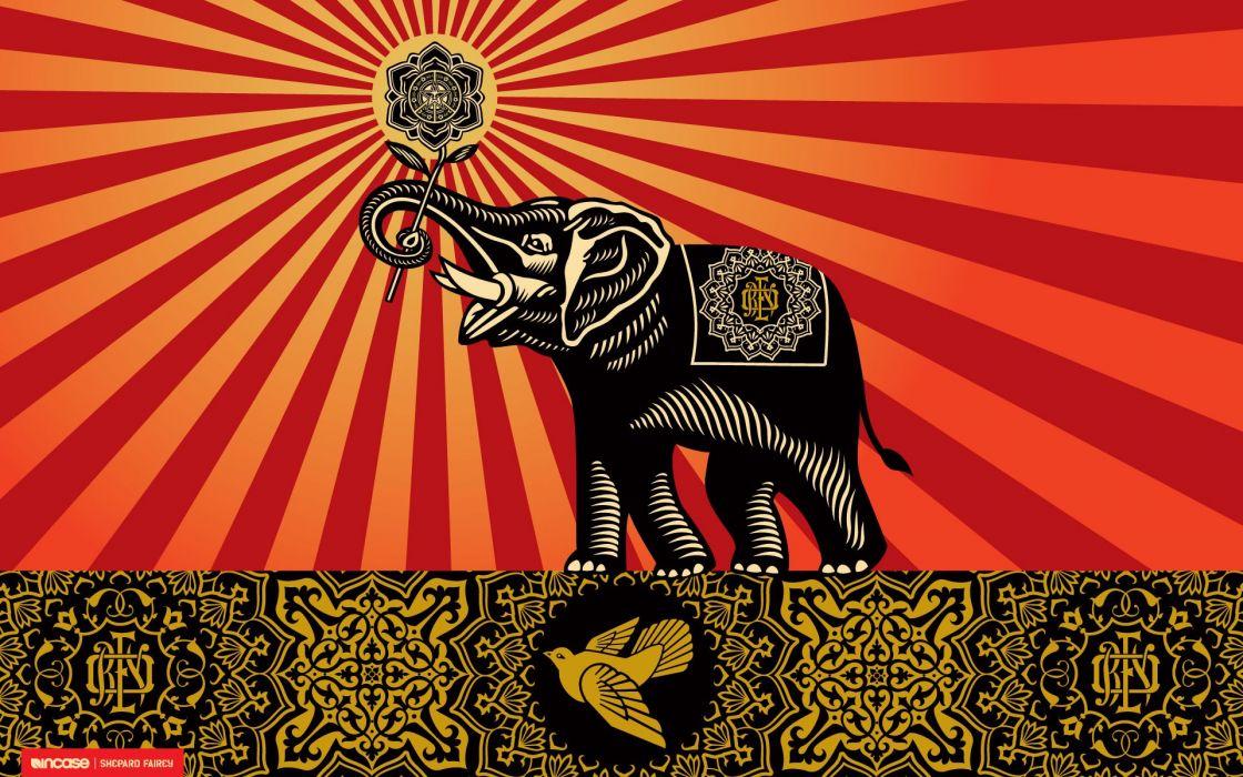 Obey elephants shepard fairey incase wallpaper