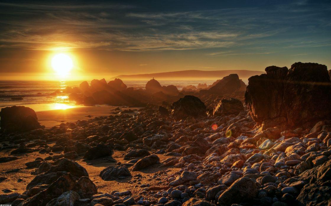 Sunset landscapes rocks wallpaper