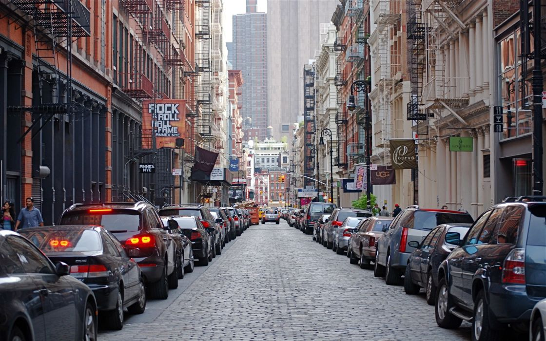 Cityscapes streets cars buildings new york city wallpaper