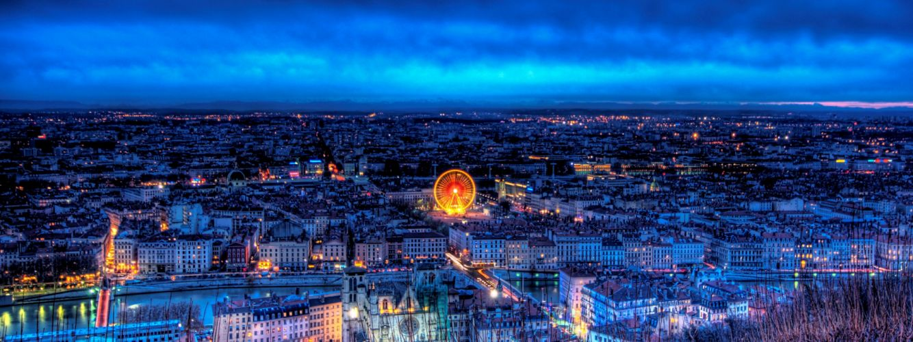 Cityscapes night lights france lyon wallpaper