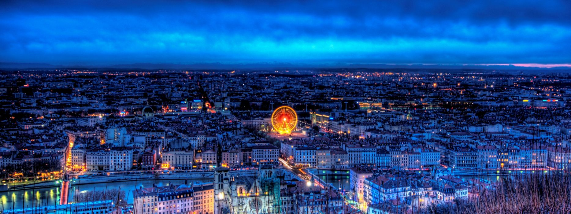 Cityscapes night lights france lyon wallpaper