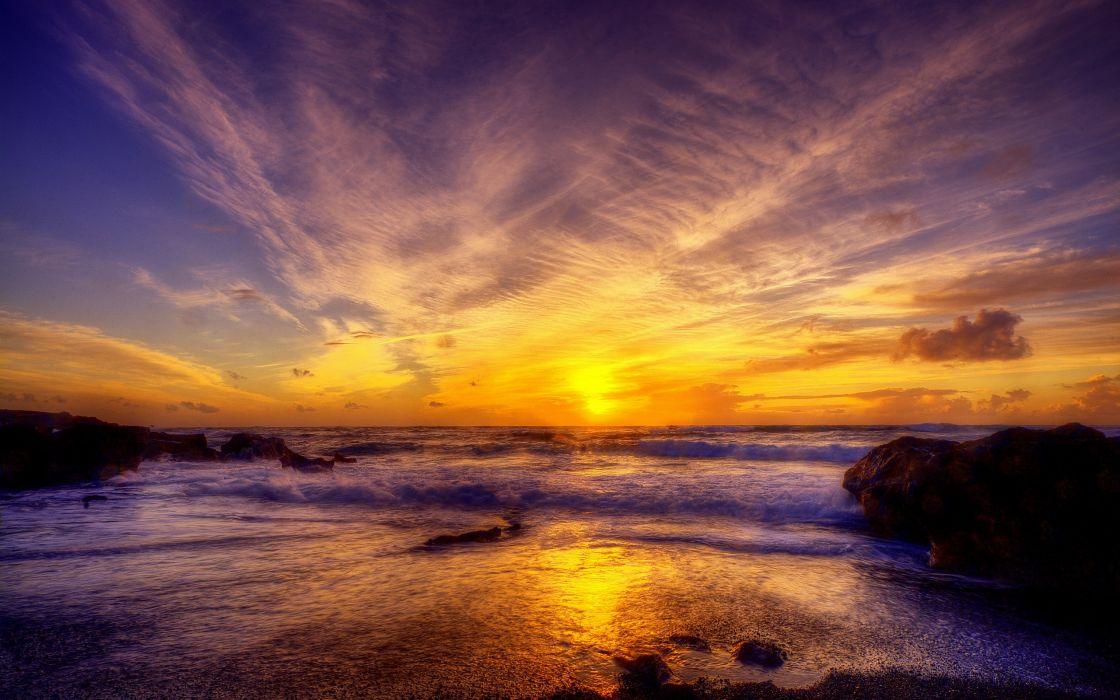 Sunset ocean landscapes nature seas wallpaper