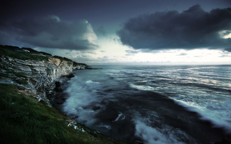 Landscapes seas cliffs evening wallpaper