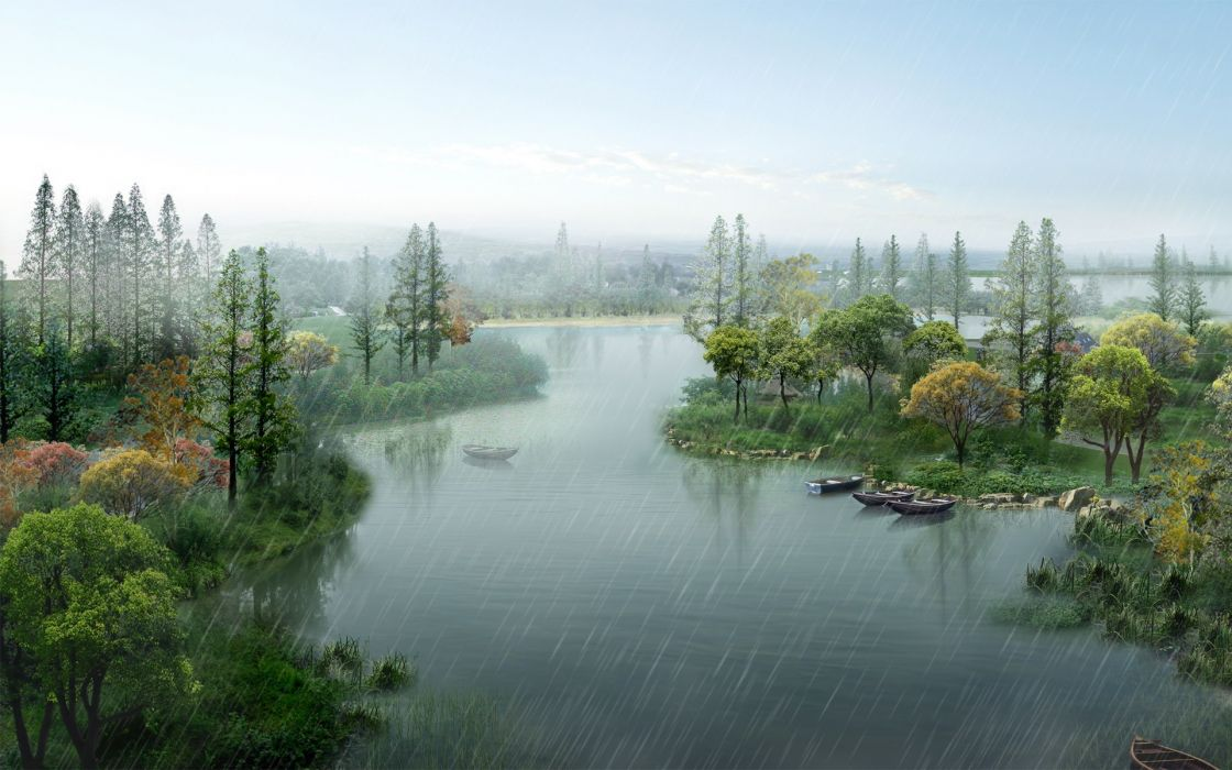 Water landscapes nature trees rain ships outdoors lakes wallpaper