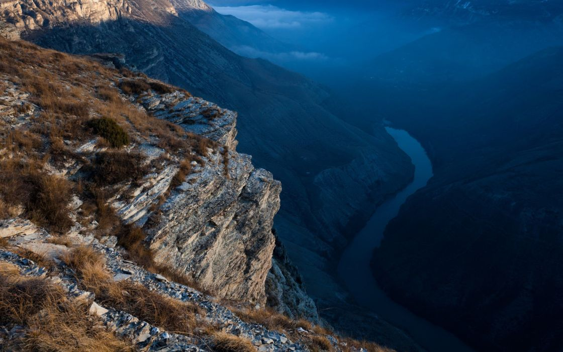 Mountains seas valley rivers wallpaper