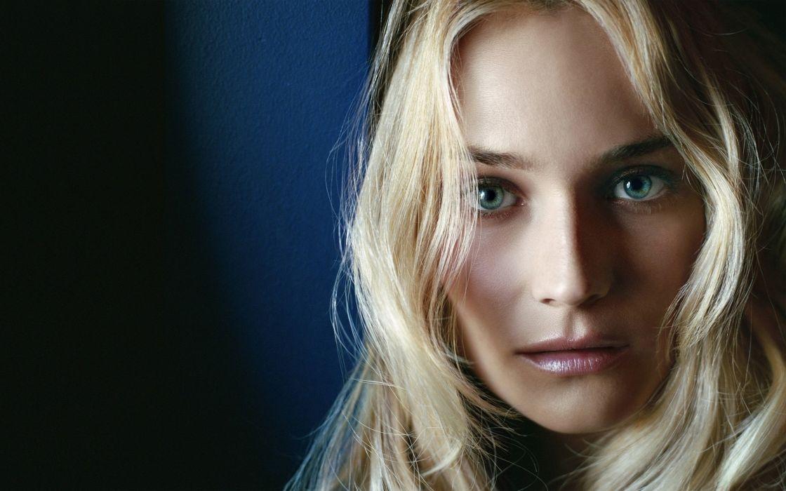 Blondes women blue eyes diane kruger faces portraits wallpaper
