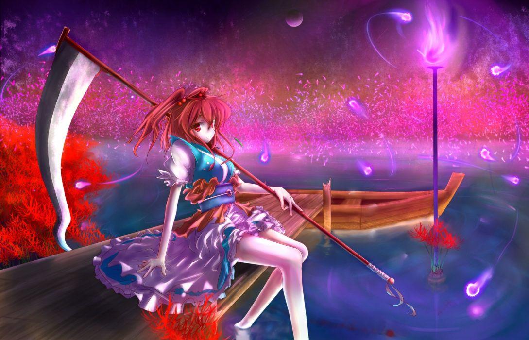Women touhou scythe redheads weapons shinigami short hair onozuka komachi spider lilies wallpaper