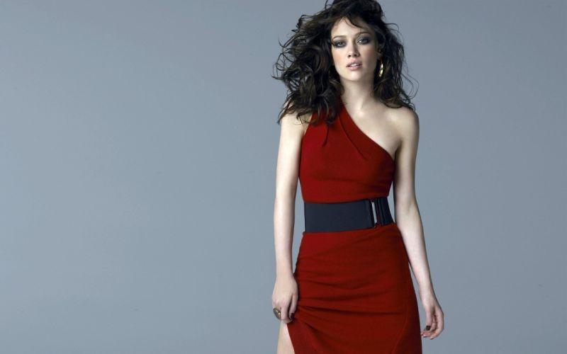 Brunettes women models hilary duff celebrity red dress wallpaper