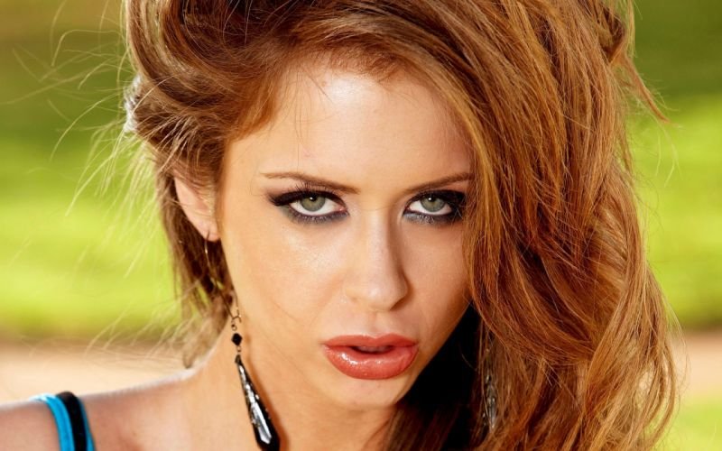 Up eyes redheads people green eyes emily addison faces wallpaper