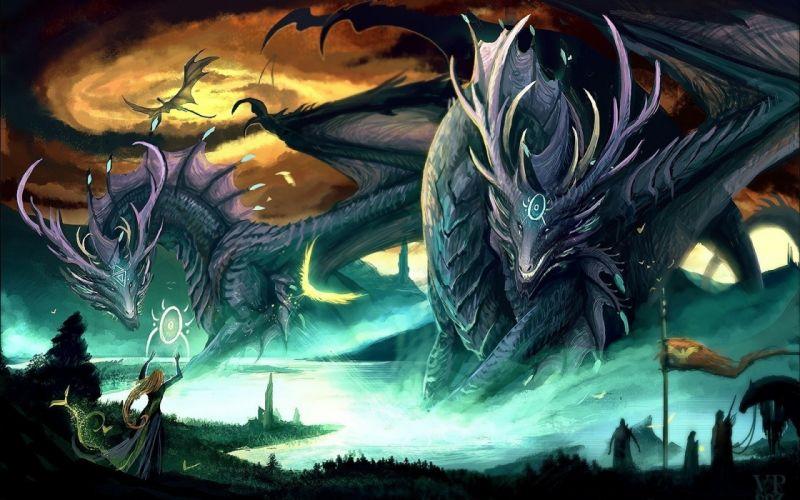 Dragons giant fantasy art creatures wallpaper