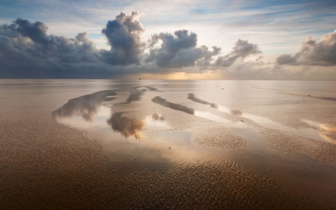 Water clouds landscapes nature beach skyscapes reflections wallpaper