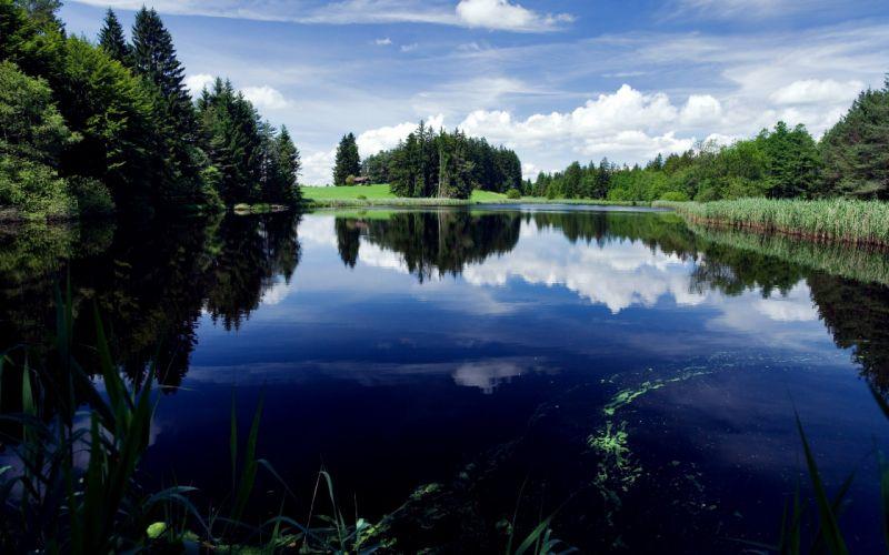 Landscapes nature lakes reflections blue skies wallpaper