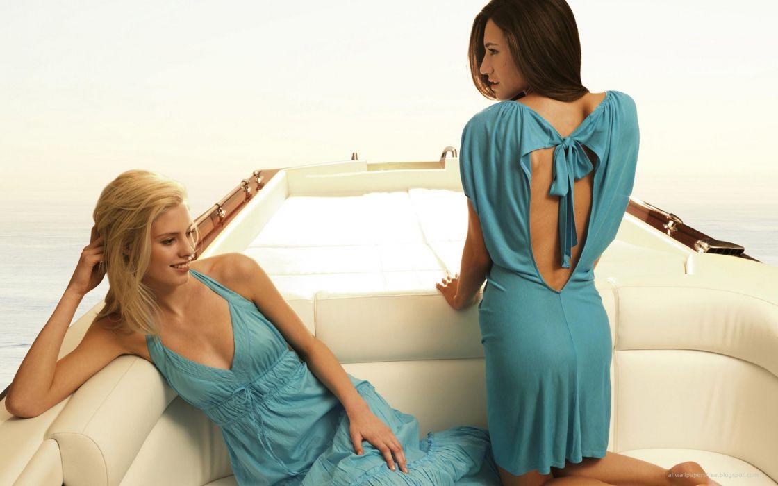 Lingerie brunettes blondes women models wallpaper