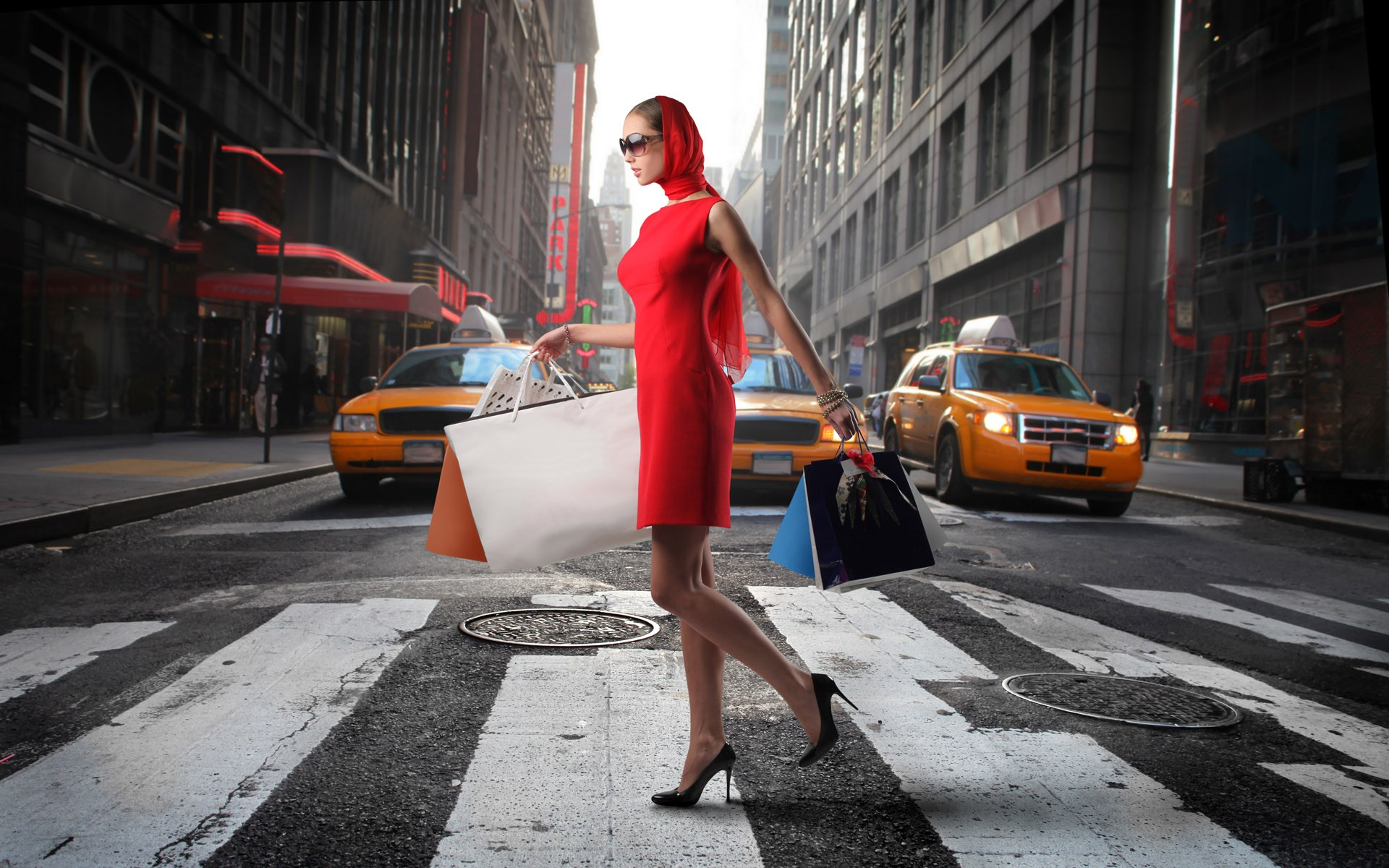 Women Streets Shopping Crossing High Heels Taxi Red Dress