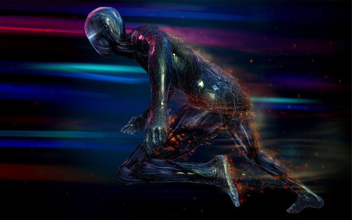 Abstract digital art artwork running 3d colors go wallpaper