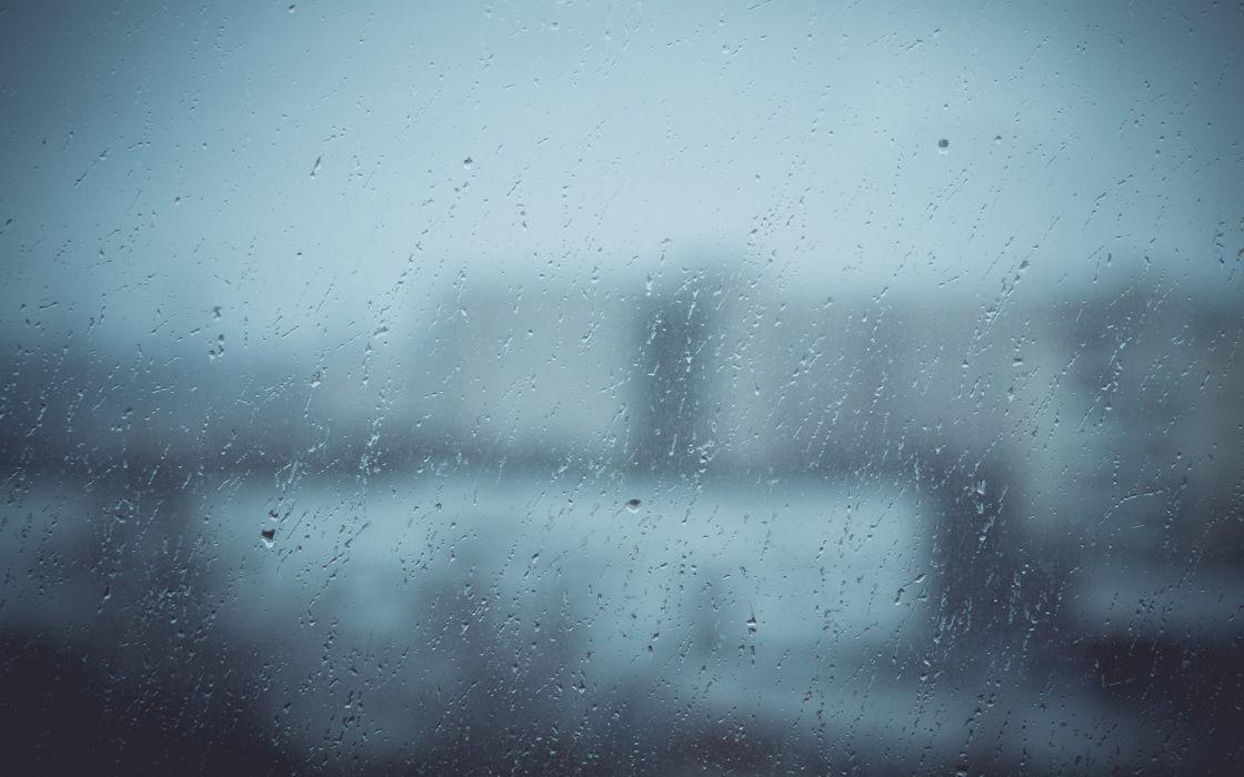Blue rain day water drops teardrops wallpaper