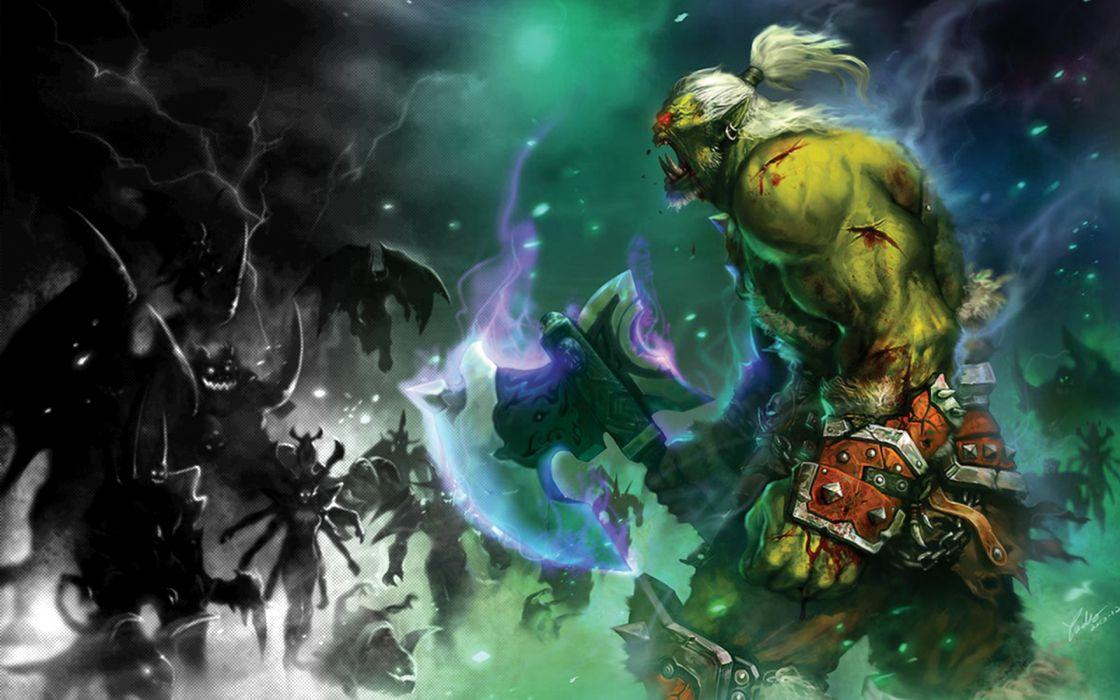 Video games demons orcs warcraft wallpaper