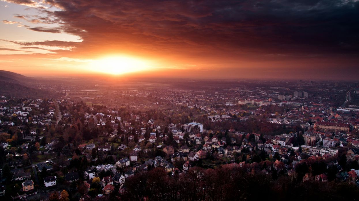 Sunset cityscapes buildings wallpaper