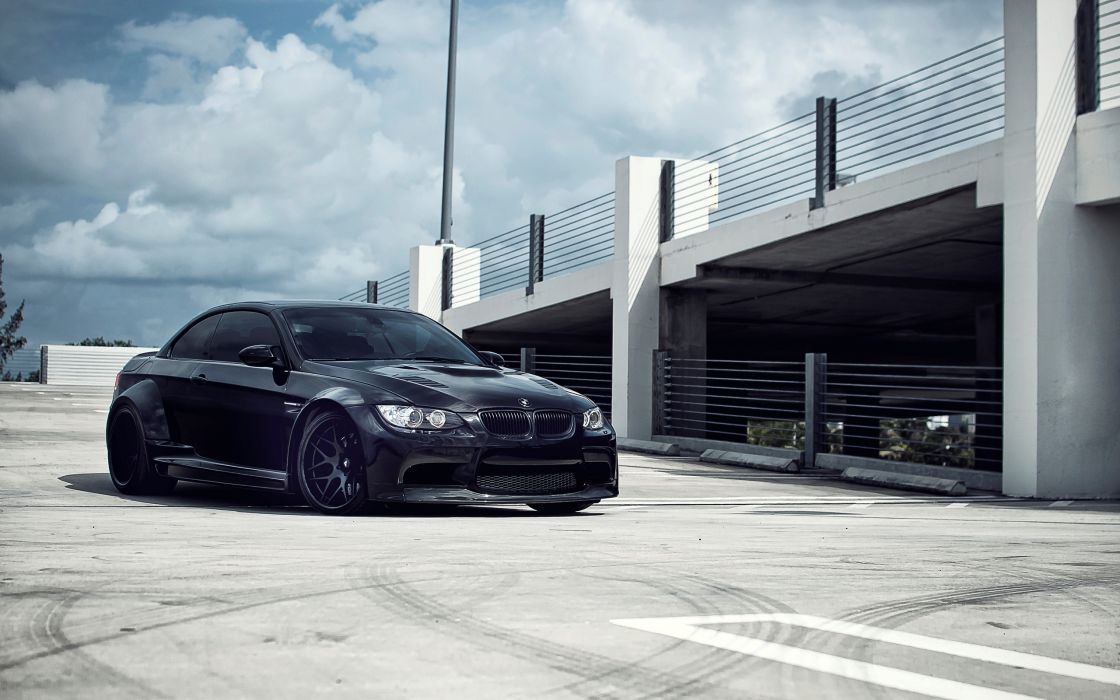 Bmw black cars tuning garages parking lot wallpaper
