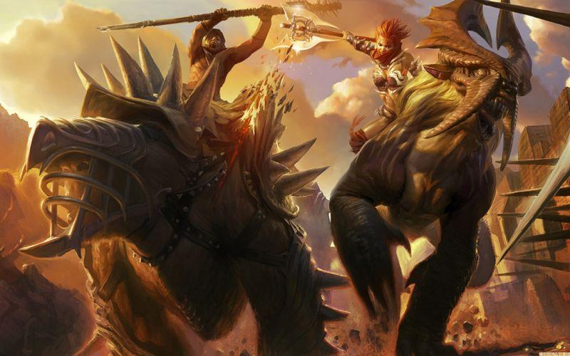Monsters fight battles axe artwork mace wallpaper